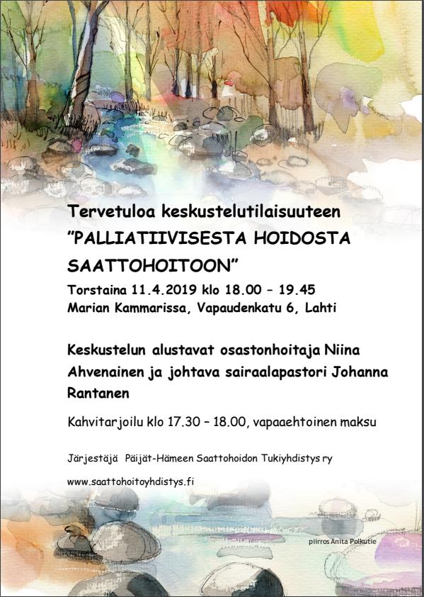 Jäsenilta: Palliatiivisesta hoidosta saattohoitoon 11.4.2019
